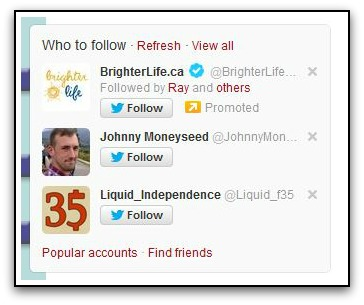 Twitter whom-to-follow recommendations