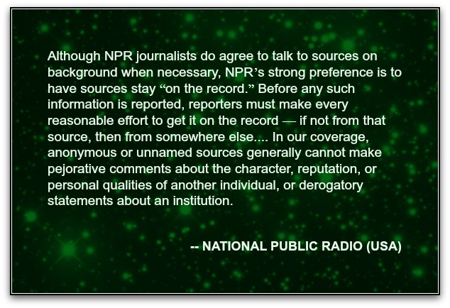 NPR ethics on anonymous sources
