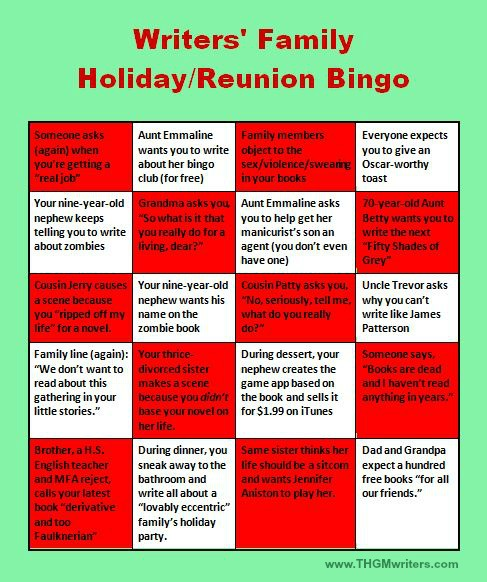 Writers Family Holiday Reunion Bingo sheet