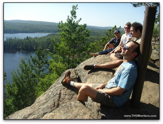 Hiking with friends on Centennial Ridges Trail in Algonquin Park
