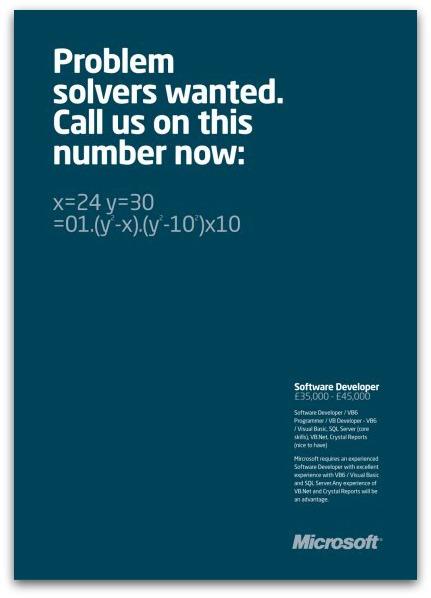 Hiring ad for Microsoft