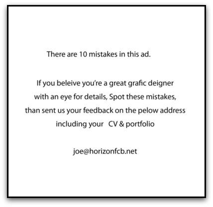 Hiring ad for graphic designer