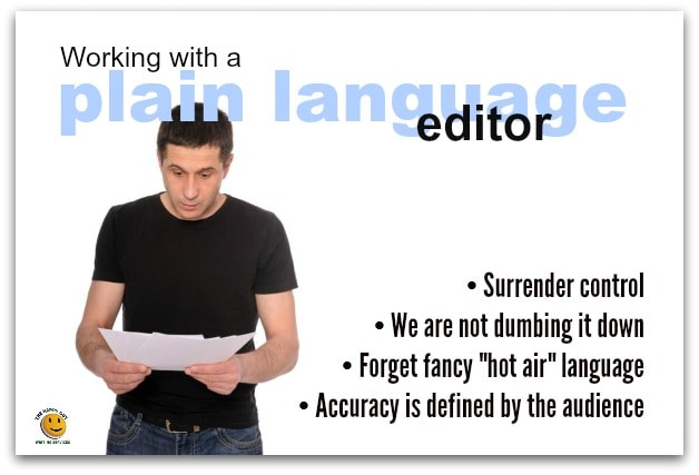 working with a plain language editor