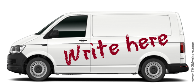 Write here on a white panel van