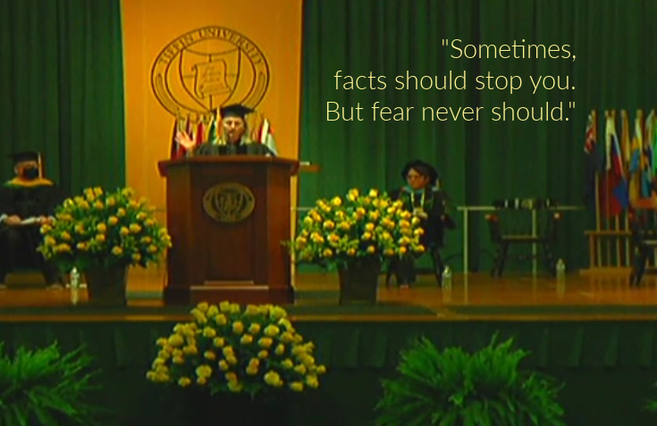 Sevy Petras commencement speech quote on courage